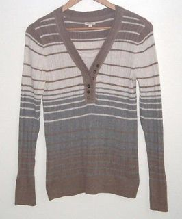 Sonoma 2 Layer Look Light Weight Striped Sweater Womens Large Beige Ivory Gray