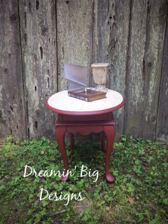 Antique Red Hand Painted Vintage Wood Mersman Side Table