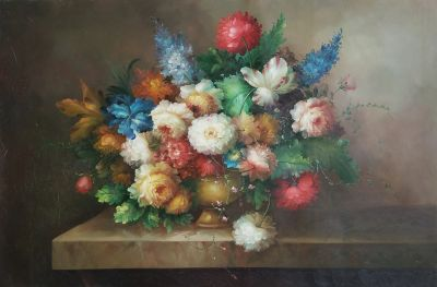 Still Life Oil Painting on Canvas (24in by 36in on unmound unframed canvas) Very beautiful with warm vibrant colours!