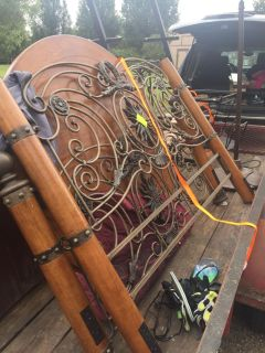 Wood Iron Queen Bed Table Chairs Antique Desk