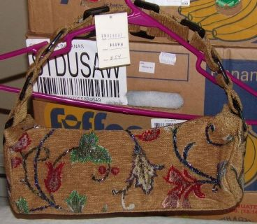 """Floral Embroidered Purse 12"""" W X 5"""" L not including shoulder strap"""