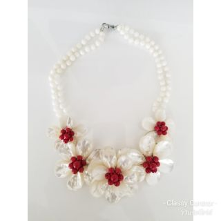 Gorgeous handmade shell and stone floral necklace