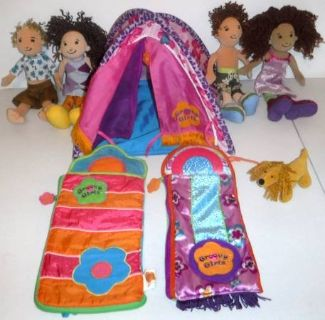 Groovy Girl Dolls - Camping Tent, 2 Sleeping Bags, 1 dog + 4 Dolls
