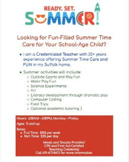 Summertime Care and Fun for School Age Kids