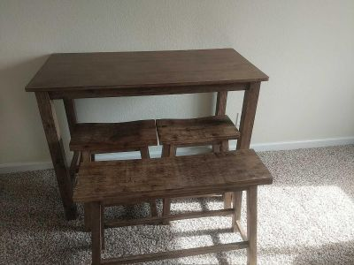 Small bar table with stools and bench grey wood color