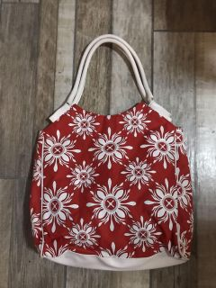 Red and white tote purse bag! Lanc me brand. Handles are separating, price reflective