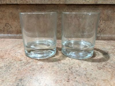 Crown royal collectible clear whiskey drink- mixed drink glasses commemorating 75 years-no chips or cracks-(b106)
