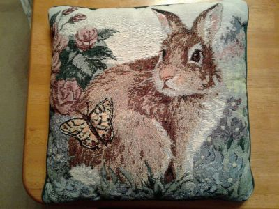 Bunny Tapestry Throw Pillow
