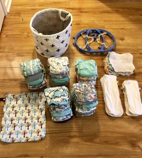 All-in-One Cloth Diaper Lot (Thirsties Diapers, Inserts, Wipes, etc)