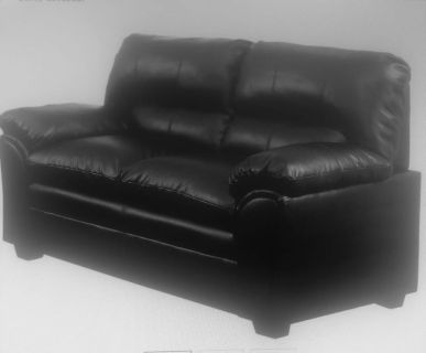 Leather Black love seat