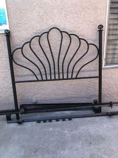 Full Size HeadBoard (Black Iron) with Frame