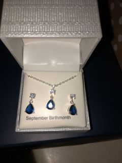 NIB Sapphire earrings and necklace