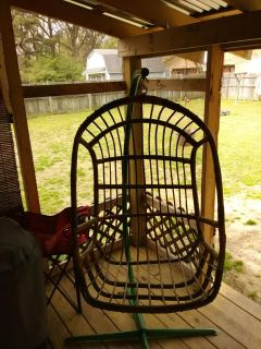 Wicker hanging chair with stand