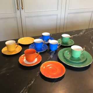 Mid Century Colorful Tea Cups & Saucers. Made In Japan