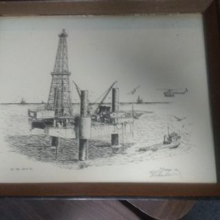 Signed Gulf Coast jack-up rig picture by Al Richardson 1976 all original frame and glass