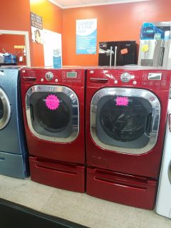 LG washer and dryer set with pedestal