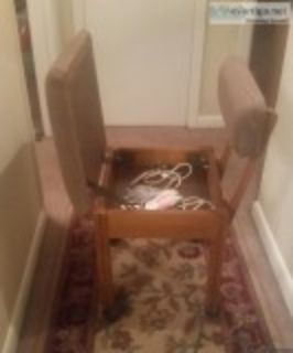 Sewing machine cabinet and chair for sale.