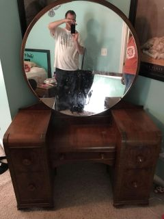 1930's waterfall affect antique vanity with mirror