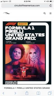 3 day general admission tickets to race and Bruno Mars and Britney Spears tickets. Includes 2 wristbands