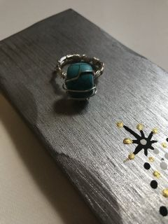 Bohemian Blue rock wire Ring Size 6 1/2