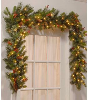 Christmas decor. Garland and large red train