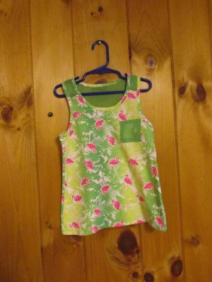 Piper faves S(6/6X) cotton/poly top w/flamingoes