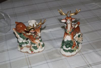Vintage Fitz and Floyd- Snowy Woods Deer Candle Holders