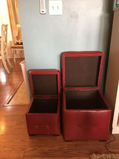 Red Leather Storage Ottomans