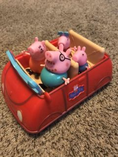 Peppa pig car and family