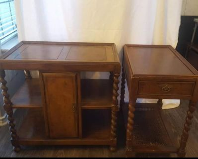 Vintage Henredon barley twist console & end table