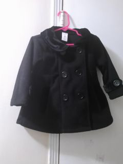 24 months girl black coat with matching hat included
