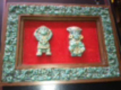 Aztec Mayan Art-Turquoise & Guild Mounted on Wood