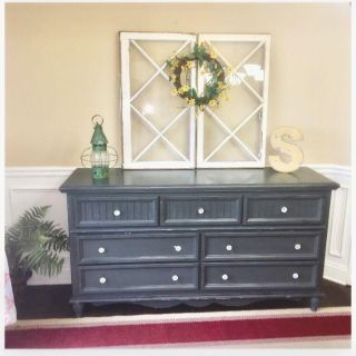 Dresser Refinished Long Chest of Drawers Side Board Hand painted Chalk Painted Solid Wood
