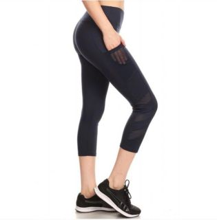 Solid Cropped NAVY Athletic Sport Capri Leggings (Multiple Sizes Available)