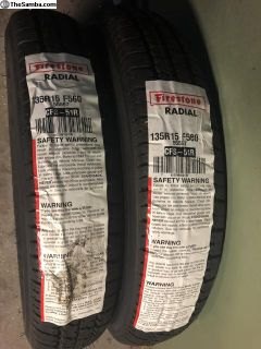 Firestone 135 SR15 F-560 tires NEW