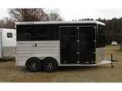 2019 Trailers USA TLT Straight Load DR - Black with Extruded Sides 2 horses