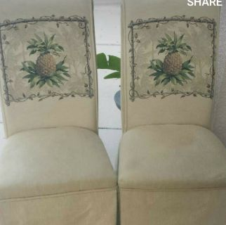 2 cloth pineapple chairs $20 & 4 stainless steel iron chairs $20