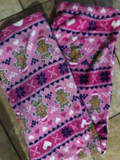Pink Soft Fluffy Gingerbread Christmas Pj s Pants. Nice Condition. Size 12-14