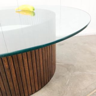 Round pedestal base glass top MCM coffee table