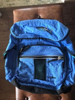 LL Bean Blue Rip Stop Material Embroidered Shark Backpack With Lots Of Pockets
