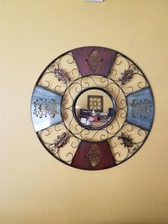 Wall art with mirror iron