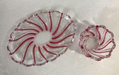 Mikasa Glass Peppermint Red Swirl 2 Pieces Dish & Candle Holder