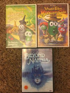 3 movies - veggie tales & narnia