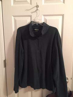 LL Bean cotton mid weight 1/4 zip pullover; color hunter green; size large