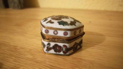 Small antique pill container