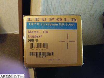 For Sale: LNIB Leupold FX-II 2.5x28 IER Scout Scope