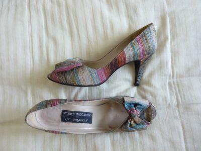 Stewart Weitzman high heeled raw silk shoe