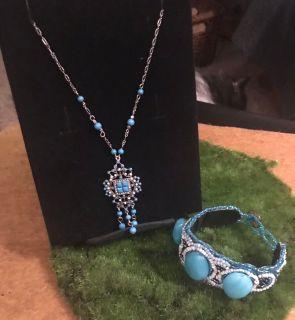 Silver & Aqua Necklace, Bracelet & Earrings