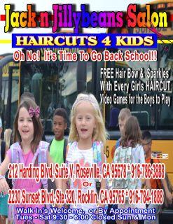 Back to School HAIRCUTS 4 Kids 916-786-3888