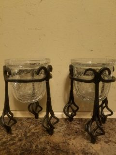 2 Crackled Glass Votive Cups in Wrought Iron Stand